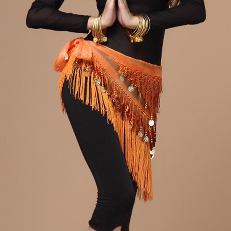 New Women Bellydance Hip Scarf For Oriental Dances Tassel Triangle Wrap Costume Accessories Belt Shawl Chiffon Hand Kerchief