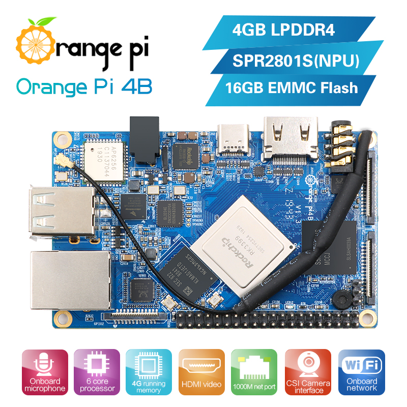 €64.92 |Orange Pi 4B 4GB DDR4 + 16GB EMMC Flash Rockchip RK3399 con NPU SPR2801S Placa de desarrollo soporte Android ubuntu debian|Tablero de demostración| |  - AliExpress