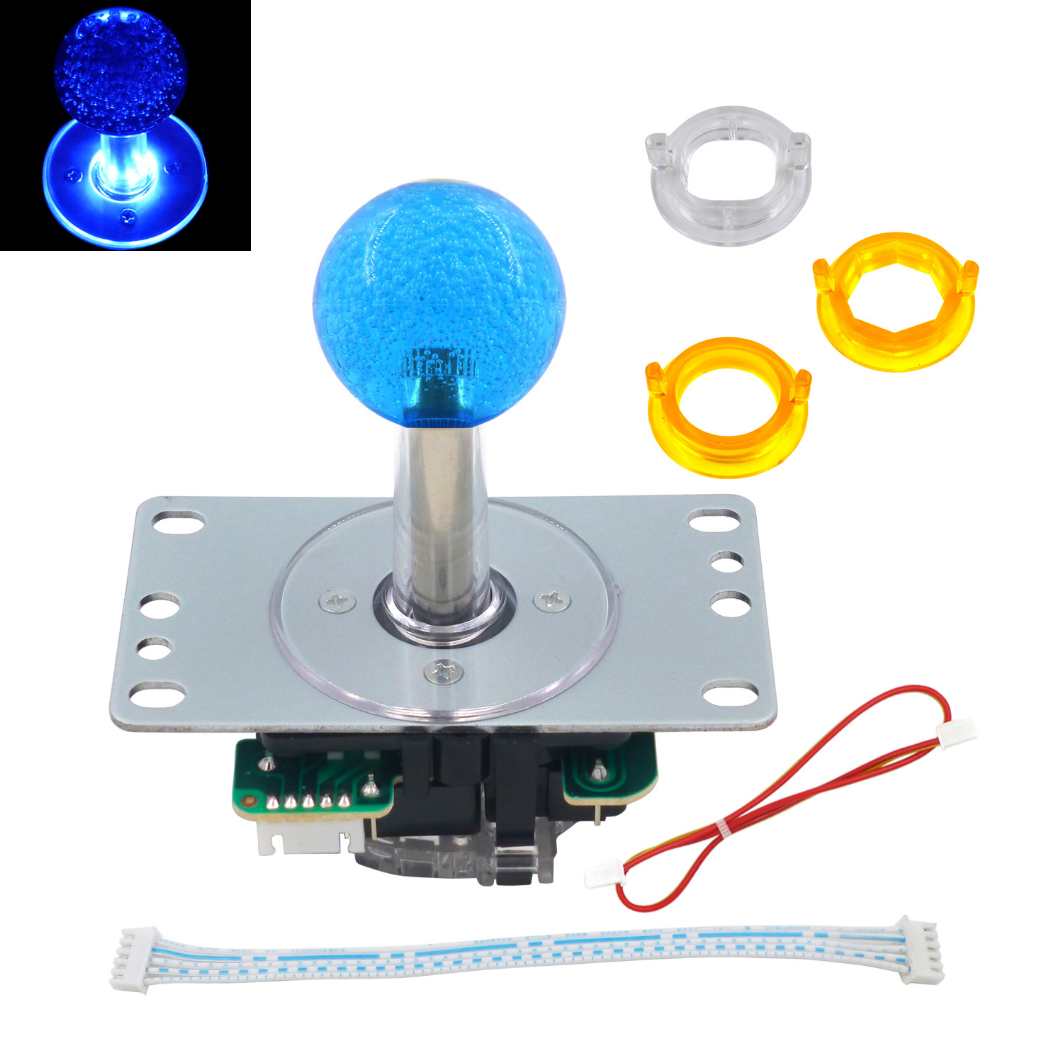 SJ@JX Arcade LED Joystick SANWA Style Fight Light Stick Circular Octagonal Limiter for Retro Pie Raspberry Pi MAME