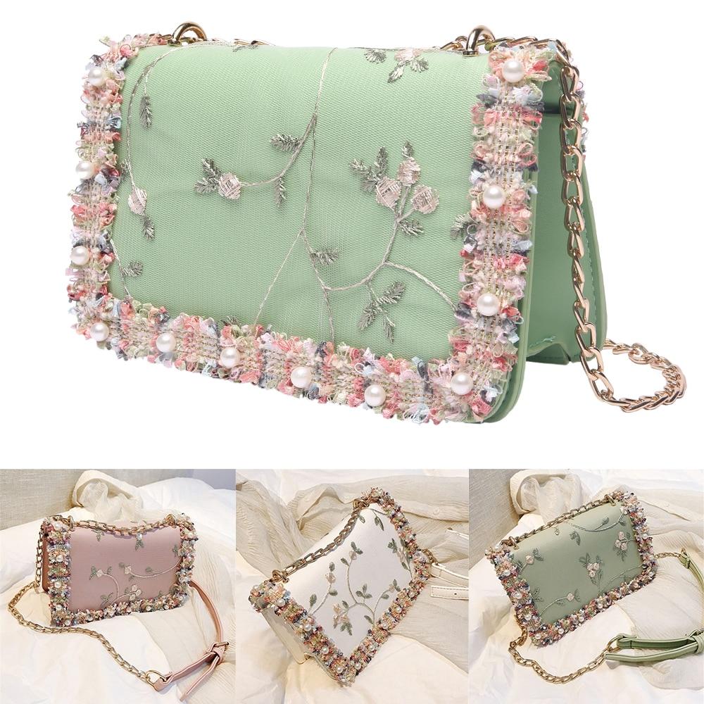 Square Bag Handbag Flowers Messenger-Bag Chain-Shoulder Pearl Sweet High-Quality Girl