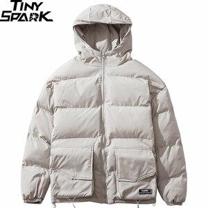 Image 1 - 2019 Winter Hooded Jacket Parka Streetwear Hip Hop Men Trench Windbreaker Oversize Harajuku Padded Jacket Coat Warm Outwear New