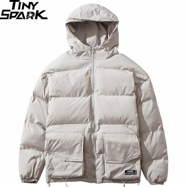 2019 Winter Hooded Jacket Parka Streetwear Hip Hop Men Trench Windbreaker Oversize Harajuku Padded Jacket Coat Warm Outwear New