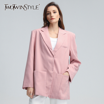 TWOTWINSTYLE Casual Blazer For Women Notched Collar Long Sleeve Pockets Loose Korean Pink Coats Female 2020 Autumn New Clothing new fashion women female korean short type long sleeve slim motor zipper leather jackets coats