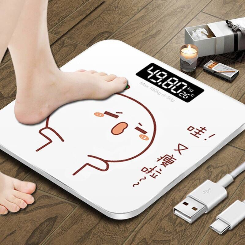 Bathroom Scale USB Electronic Digital Weight Scale Body Fat Smart Household Weighing Balance Connect Composition Weight Scale