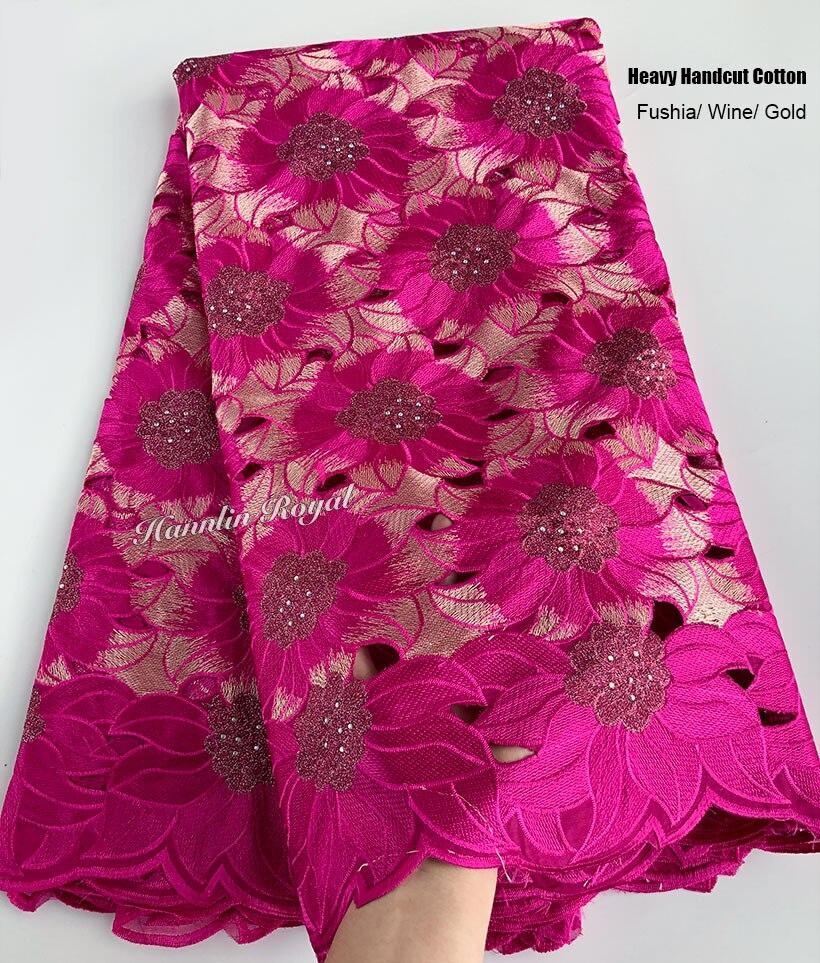 Ev ve Bahçe'ten Dantel'de 5 metre ağır handcut dantel pamuk delikli afrika İsviçre kumaşı dantel kumaş taşlar ile güzel Nijeryalı dikiş elbise'da  Grup 2
