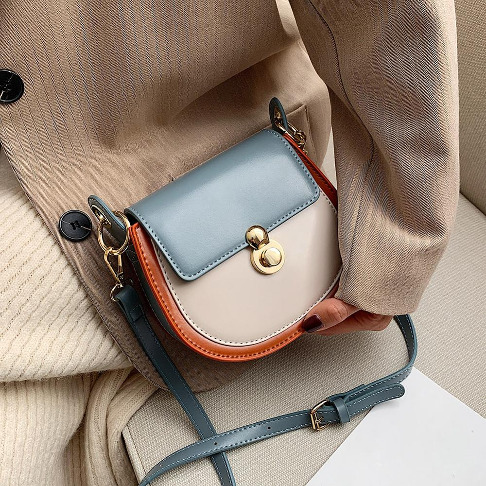 Crossbody Bags For Women 2020 Fashion PU Leather Contrast Color Small Shoulder Bag Female Handbags And Purses Travel Bags