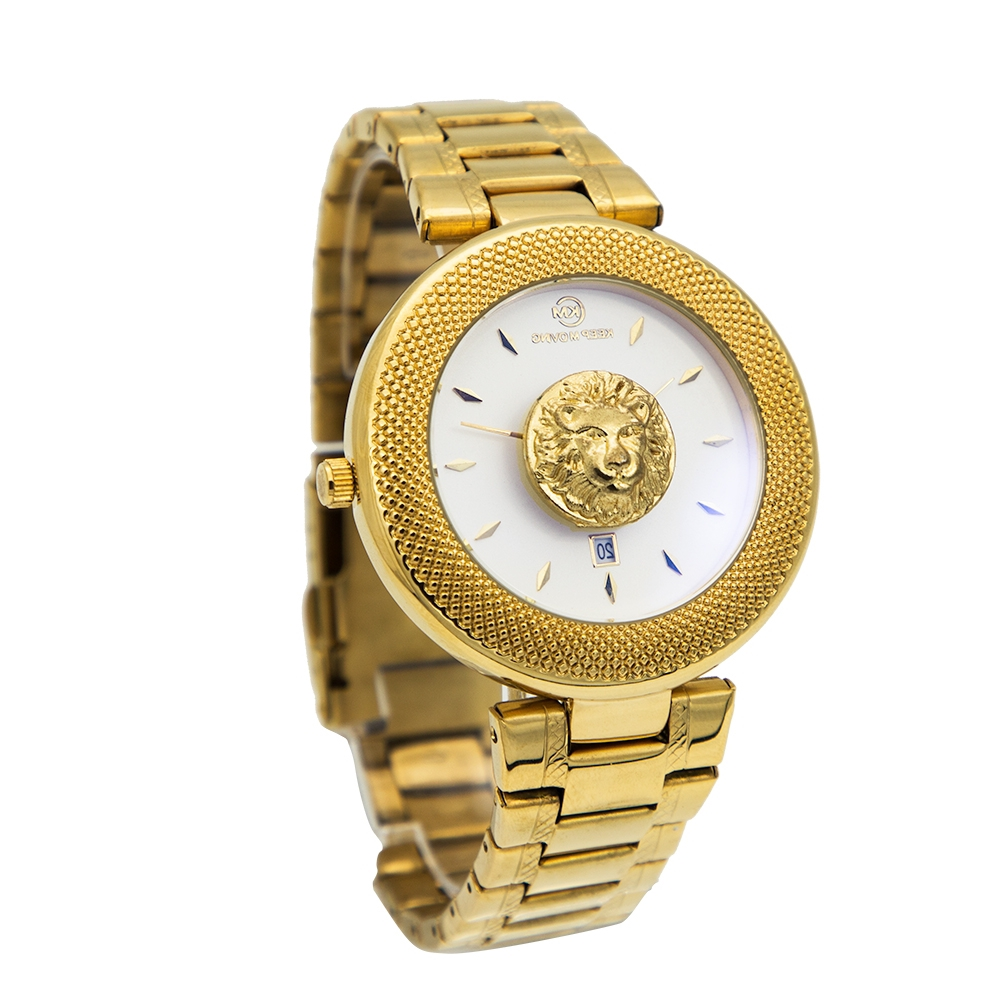 Women Quartz Watch For Men Lovers Couple Watches With Lion Luxury Fashion Casual Lady Mens Womens Stainless Steel Wristwatches