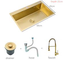 Dissipadores de cozinha de ouro escovado acima do contador ou udermount dissipadores vegetais bacia lavagem 304 aço inoxidável única tigela 60x45cm