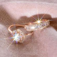 Luksusowa kobieta 925 srebrny kryształ cyrkon zestaw pierścieni vintage róża złoto obrączki dla kobiet Flower Bridal pierścionek zaręczynowy tanie tanio Modyle SILVER Kobiety Cyrkonia Zaręczyny Napięcie ustawianie Moda TRENDY Wszystko kompatybilny Zespoły weselne PLANT