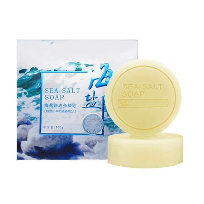 Sea Salt Anti-mite Soap Nourishing Skin Oil-control Anti-acnes Moisturizing Handmade Soap Face Skin Care Body Care W