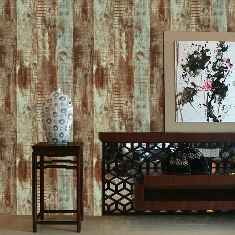 American Vintage Nostalgic Wood Grain Wallpaper Cool Retro Board Texture Cafe Clothing Store Restaurant Wallpaper