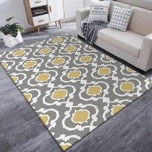 Modern Gray yellow white geometric pattern big size carpet customize living room floor mat bedroom plush rug bathroom door