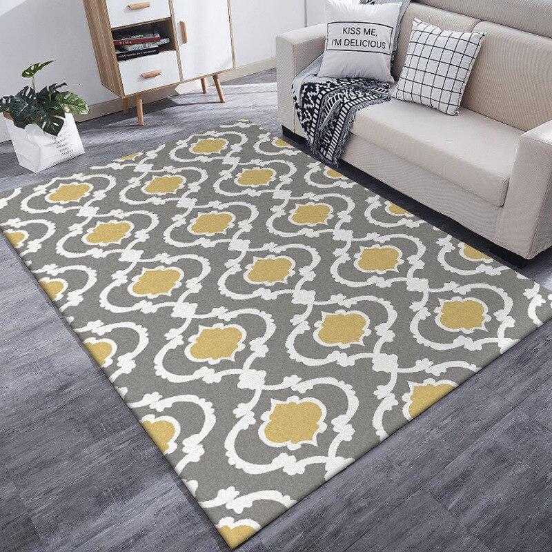 Moderne gris jaune blanc motif géométrique grande taille tapis personnaliser salon tapis de sol chambre en peluche tapis salle de bain porte tapis