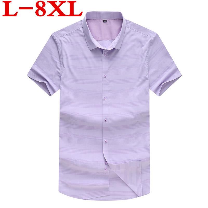 Plus Size 8XL 9XL 7X Summer Style Striped Shirt Men 100% Cotton Camisa Slim Fit Brand Clothing Short Sleeve Men Shirt Twill