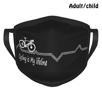 Cycling Is My Lifeline Best Gift Funny Print Reusable Face Mask Cycle Cycling Bike Cyclinglife Bicycle Bikelife Cyclist image