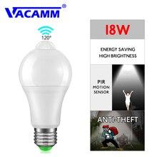 Светодиодный PIR сенсор лампы E27 12 Вт 18 Вт B22 AC85-265V сенсор светодиодный светильник ночник датчик движения лампа с сумерками до рассвета для дома светильник ing