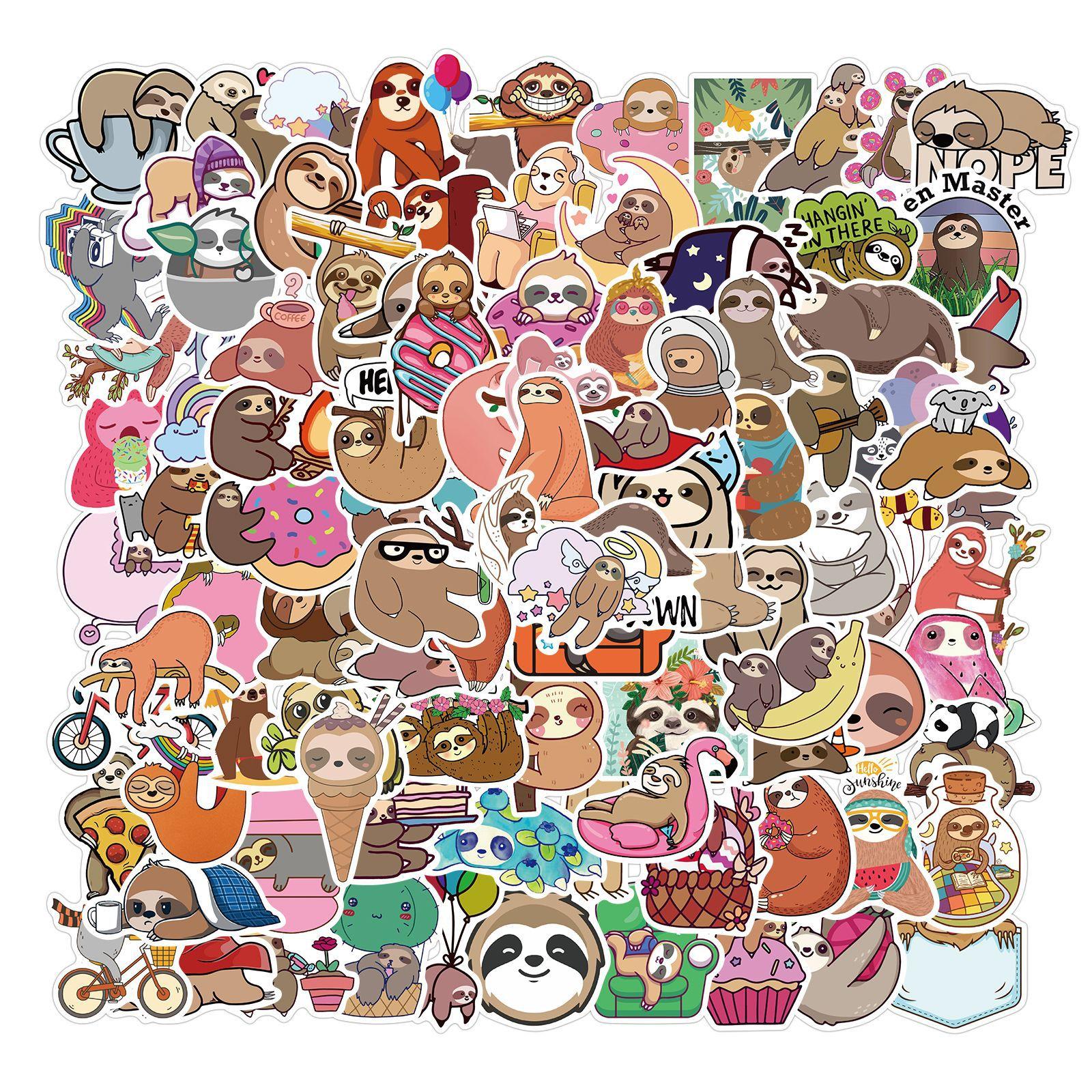 100 pçs sloth animal adesivos pacote aproveite o momento engraçado bonito dos desenhos animados adesivos de vinil crianças diy scrapbook bicicleta portátil decalques do carro