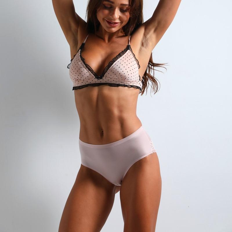 3 Pcs Set Sexy Lace Panties Seamless Women Underwear Nylon Silk Briefs Intimates Bikini Cotton Lingerie - underwear