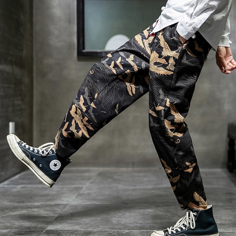 Chinese Style Cotton Linen Sweatpants Joggers Men Printing Harem Retro Track Pants Streetwear Mens Jogger Trousers Men KK3103