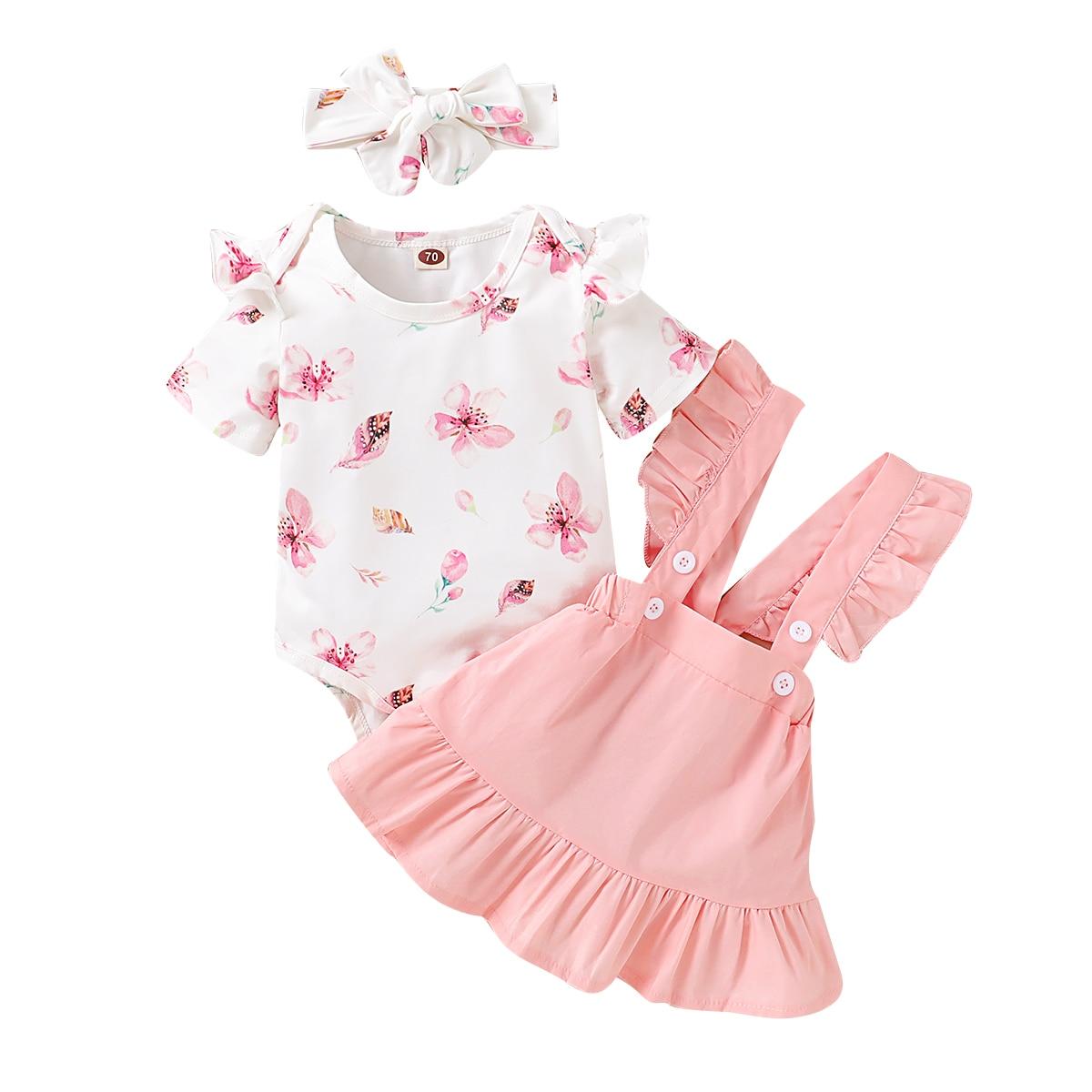 Vestido de verão meninas roupas conjunto bebê macacão + saia + hairband flor impressão cinta macacão macacão de uma peça roupa de verão clothe