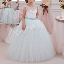 Ball Gown Princess Dress for Photography Elegant Flower Girls Wedding Bridesmaid Dresses for Kids Lace Tulle Pleated Long Dress kids contrast lace pleated dress