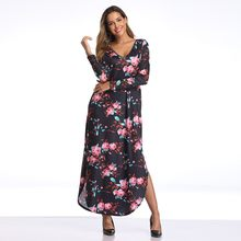 Women Summer Long Dress 2019 Floral Print Boho Beach Dress Ladies White Maxi Evening Party Dress Sundress Vestidos De Festa#G7(China)