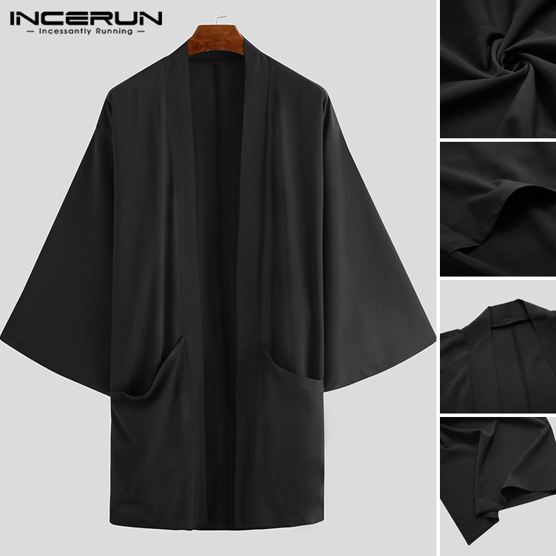 INCERUN 2020 Fashion Men Trench Cardigan Open Stitch Cloak Capes Man Loose Long Sleeve Solid Color Punk Long Coats Streetwear