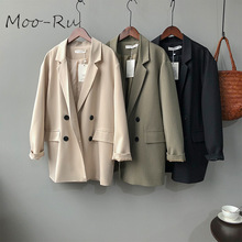 Moo-Ru 2020 The New Spring Chic Loose Show Thin Leisure Double-breasted Temperament Solid Color Suit Jacket for Female