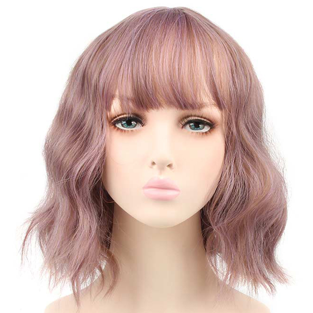 Pageup Short Wavy Wigs For Black Women African American Synthetic Hair Heat Resistant Purple Wigs With Bangs