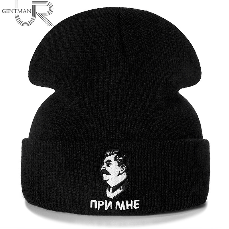 New Stalin Embroidery Casual Winter Hats For Men Women Fashion Knitted Hat Solid Color Streetwear CCCP Beanie Hat Unisex Ski Hat