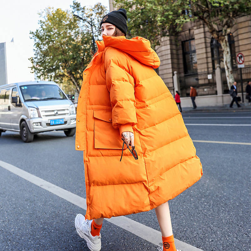 2019 Bright Colors Winter Coat Women Jacket Long Down Parka Hooded Coat Down Jacket Thick Warm Female Loose Street Outwear YRF63