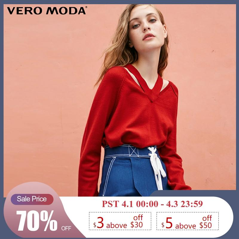 Vero Moda New Thin Hollow-out Streetwear Sleeve Pure Knit Sweater Women | 318313504