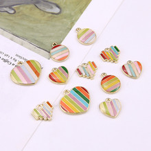 2019 new design fashion alloy drop oil stripes color mosaic rainbow Heart-shaped pendant round earrings DIY jewelry accessories heart design drop earrings