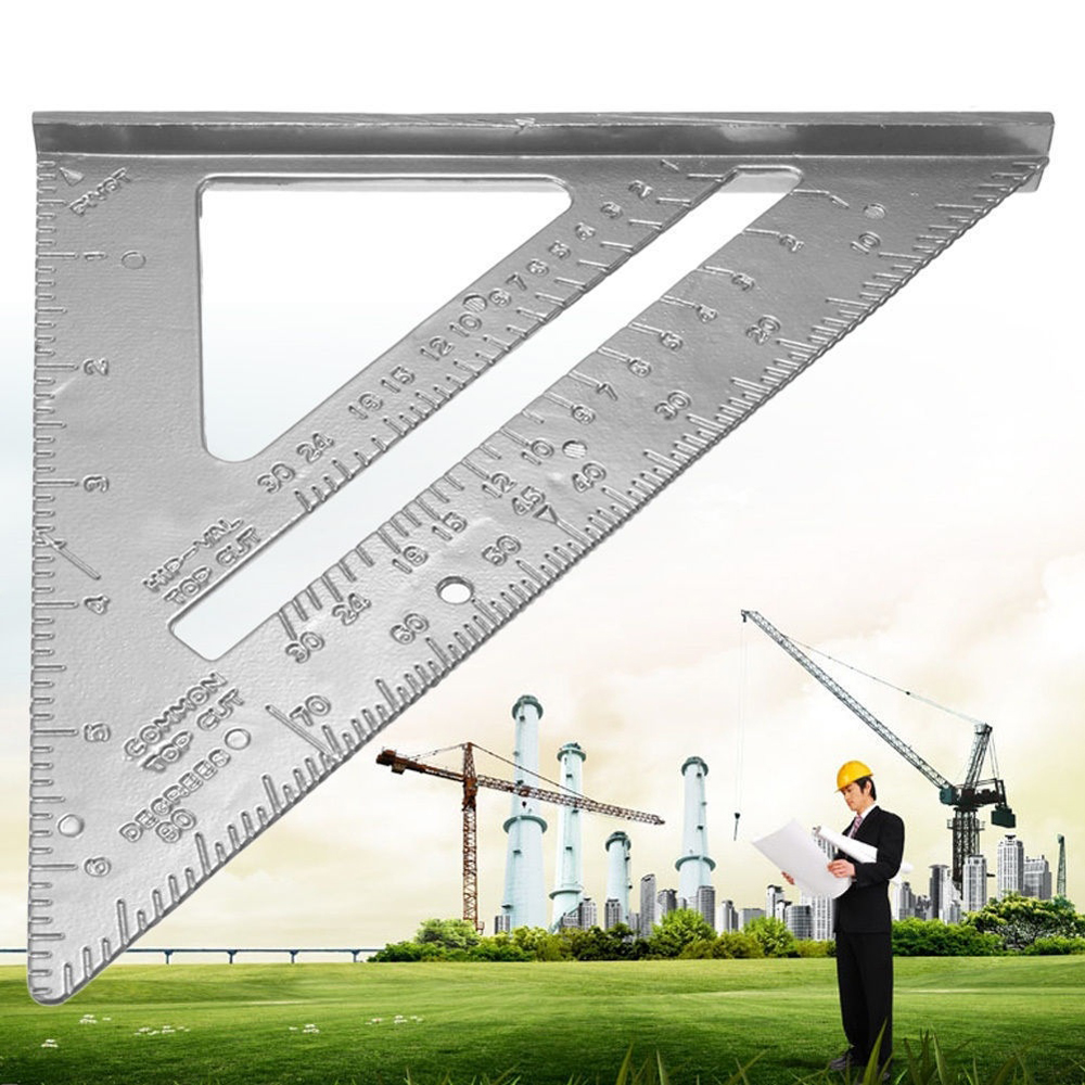 Angle Ruler 6.5in Aluminum Alloy Triangle Rulers Miter Framing Measurement Ruler For Carpenter Triangle Angle Protractor