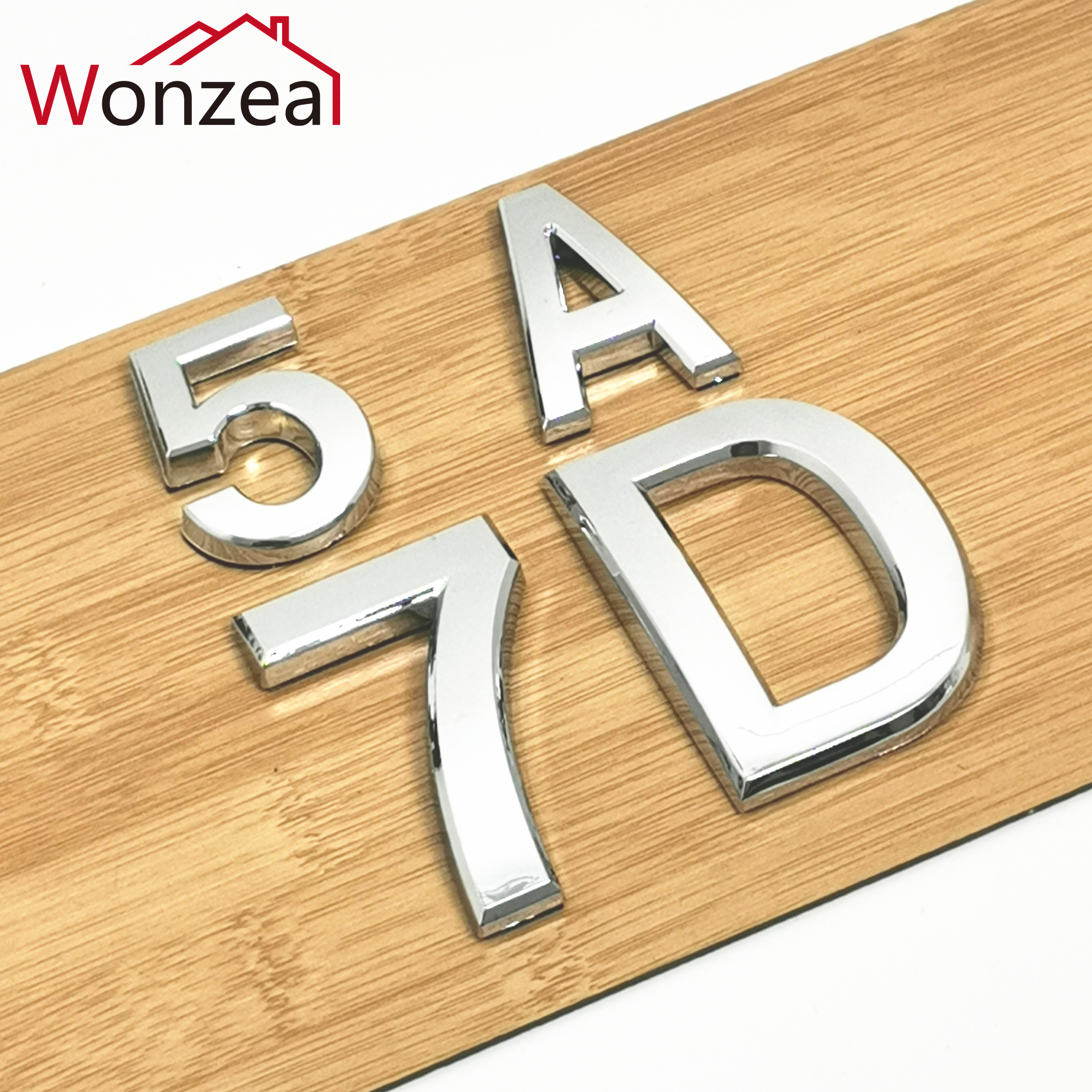 5cm/7cm 0123456789 A To Z Modern Silver Plaque Number House Hotel Door Address Digits Sticker Plate Sign ABS Plastic