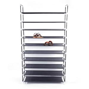Simple Assembly 10 Tiers Non-woven Fabric Shoe Rack with Handle Black Shoe Storage Cabinet Organizer for Home Dormitory Shoes