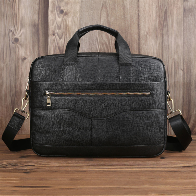 Nesitu A4 Brown Black Genuine Leather 14'' Laptop Office Men Briefcase Business Shoulder Messenger Bags Portfolio Handbag M005