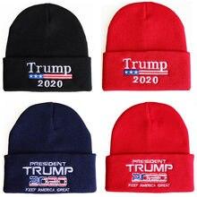 Совершенно новая облегающая шапка унисекс с Дональдом Трампом 2020 сделайте Америку великолепной снова вязанной детской лыжной шапкой Пряма...