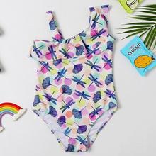 Новинка года; Купальник для девочек; От 3 до 8 лет; Купальник для девочек; кружевной Детский купальник с цветочным рисунком; купальник для маленьких девочек; кружевной детский пляжный wear-SW415