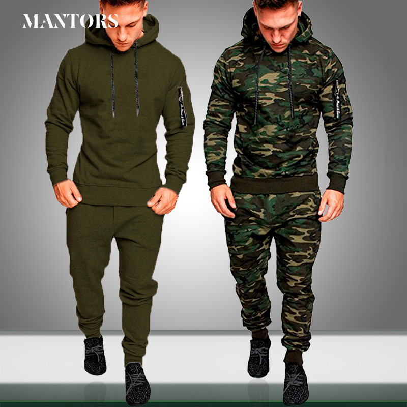Tracksuit Men Sweatshirt Jogger Sports-Set New-Sets Slim-Fit Autumn Running Camouflage