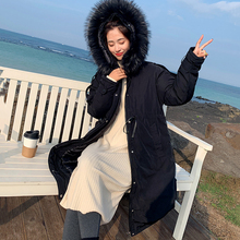 Winter warm cotton women space hooded fur collar coat new long clothing thick loose jacket ladies