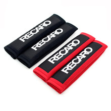 1Pair Recaro Red Black Cotton Shoulder Racing Car Seat Belt Strap Padding Cover(China)