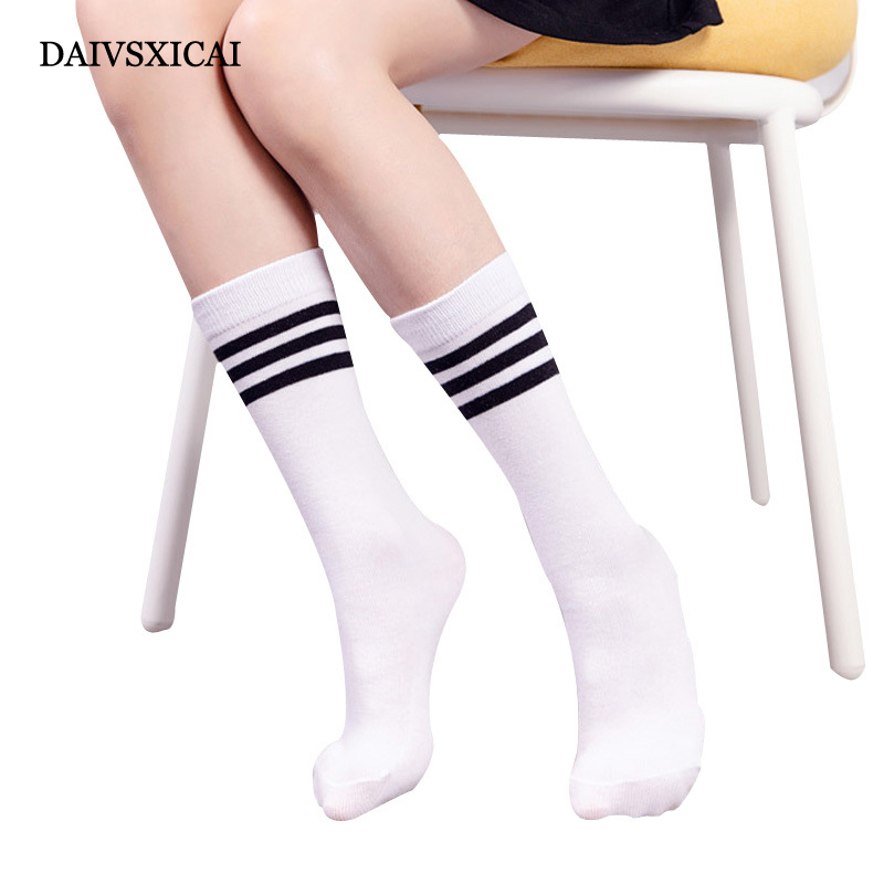 3Pairs/lot=6Pieces Three Bars Autumn Socks Womens Cotton Over Knees Female Socks Fashion Long Socks Ladies