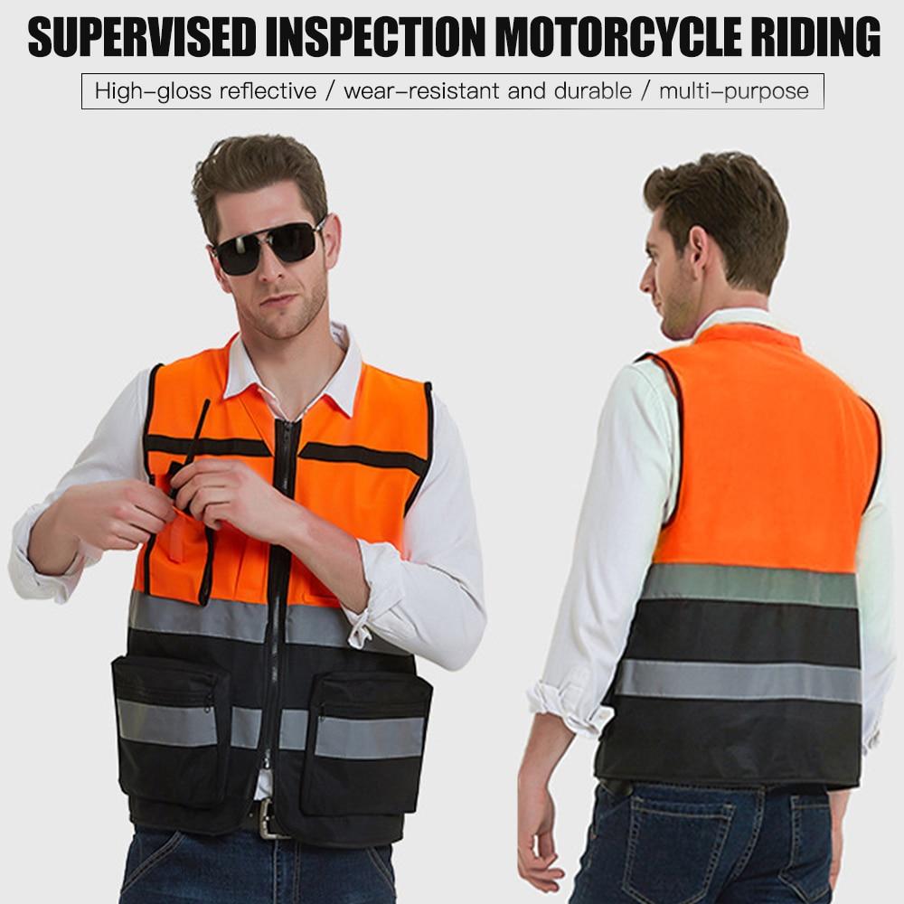Motorbike Motorcycle Security High Visibility Reflective Safety Vest Waistcoat Hi-viz Work Wears Cycling
