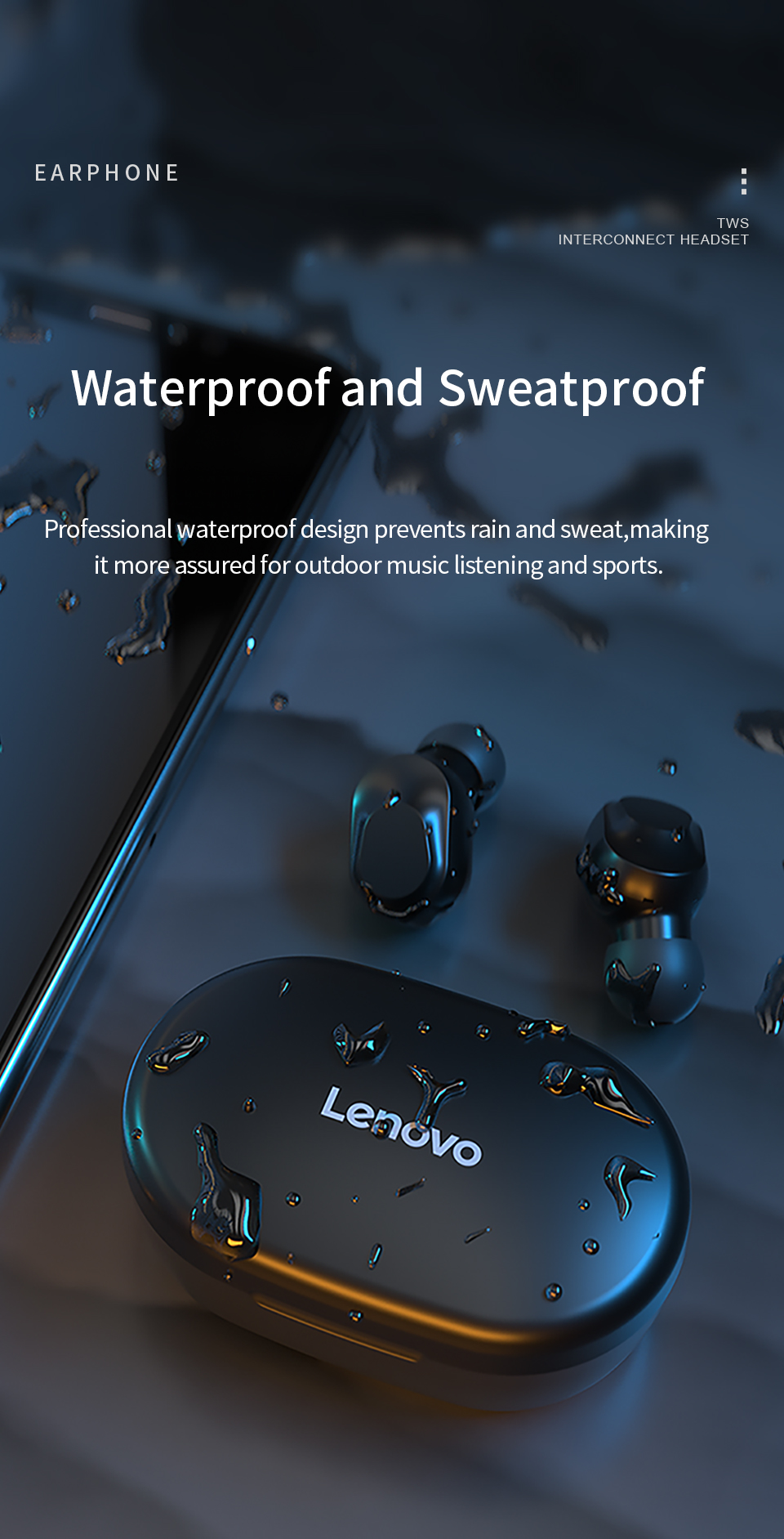 Original Lenovo XT91 Wireless Bluetooth TWS BT5.0 Headphones AI Control Stereo Sport Headset Noise Reduction Earphone With Mic