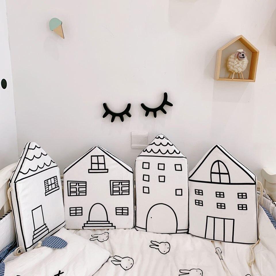 4 Uds. Cuna para bebés, cuna para niños, Protección cómoda, almohadas para niños, valla, bonita casa de combinación de algodón