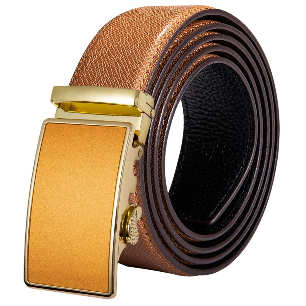 Hi-Tie Luxury Men's Brown Belt For Jeans Automatic Buckle Male Genuine Leather Belt Men Fashion Designer Yellow Gold Belts