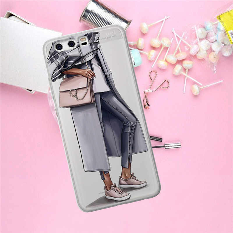 Chica mujer para Huawei Mate 9 10 20 P8 P9 P10 P20 P30 P Smart Lite Plus Pro funda de teléfono funda moda regalo lujo