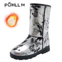 PUHLLM Mixed Colors Warm Snow Shoes For Women Boots Round Toe Winter In Women's 34-48 Large sizeShoes F70