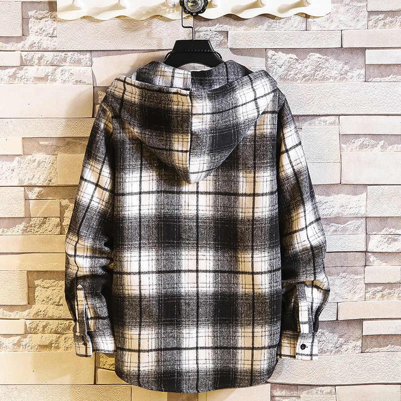 격자 무늬 스타일 가을 봄 2020 까마귀 남성 힙합 펑크 셔츠 플란넬 캐주얼 패션 의류